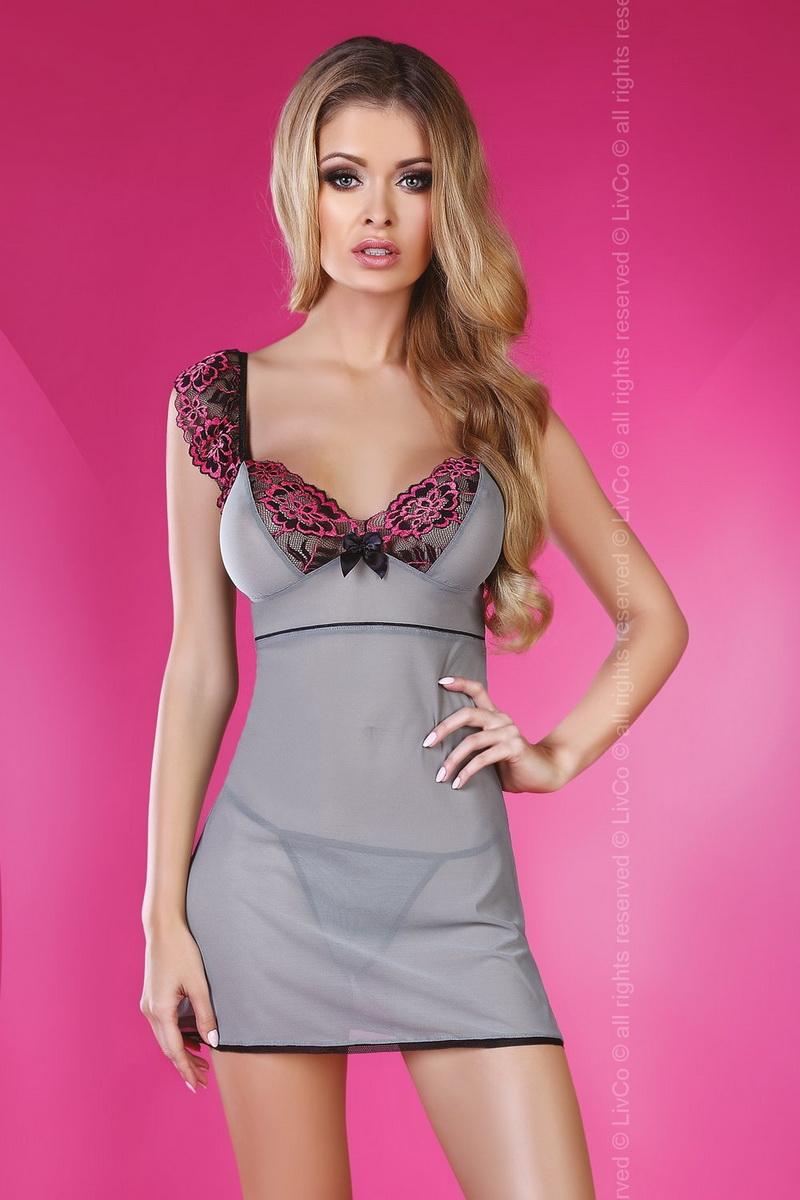 Dámská košilka LivCo Corsetti Midnight šedo-růžová (velikost S/M)