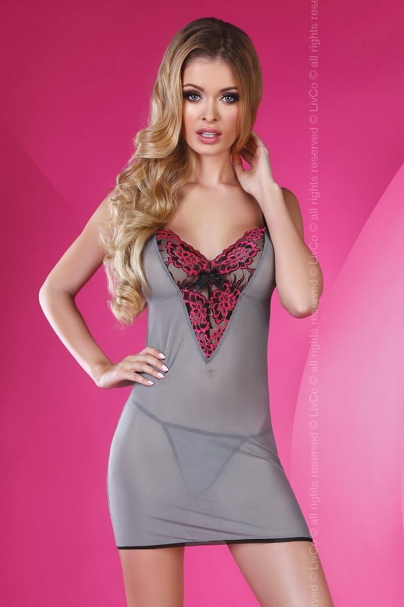 Dámská košilka LivCo Corsetti Sunshine šedo-růžová (velikost S/M)