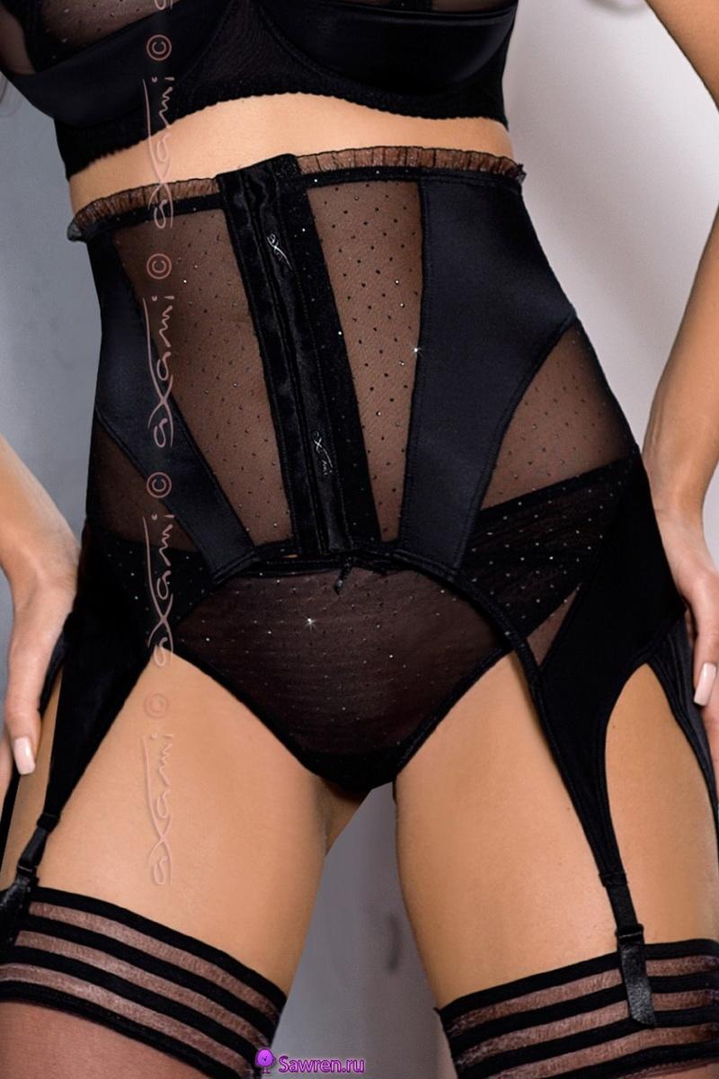 Erotický podvazkový pás Axami V-6102 BROADWAY černý (velikost XL)
