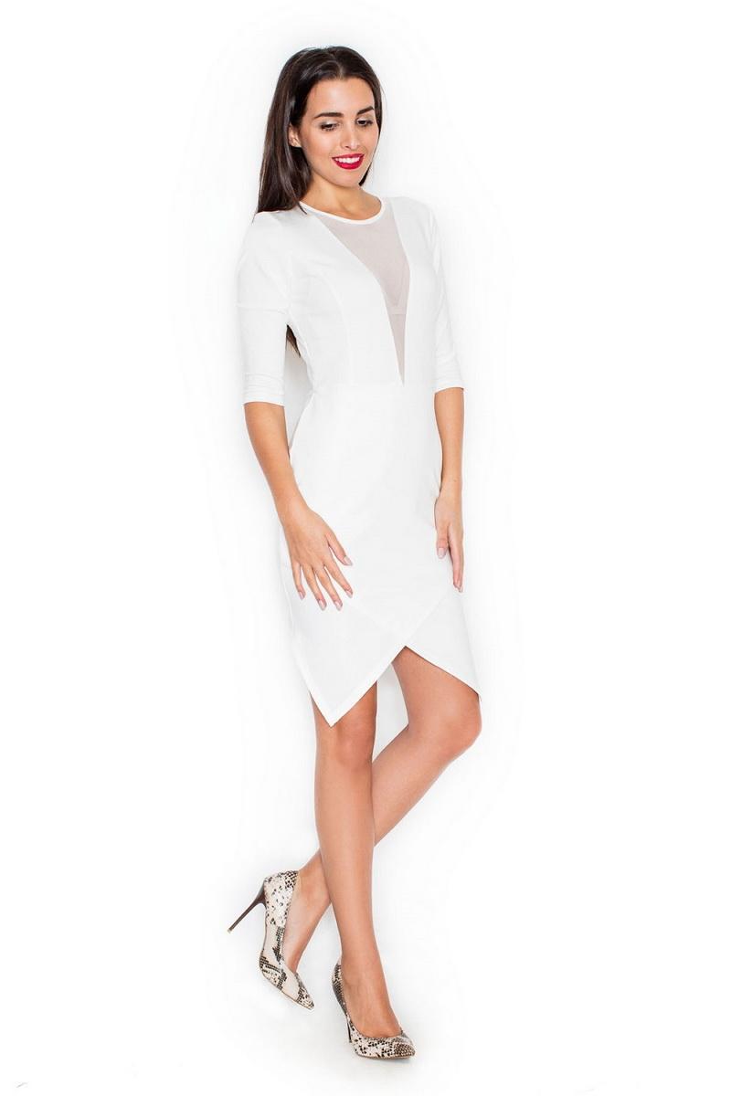 Dámské šaty Katrus K320 krémové (velikost S)