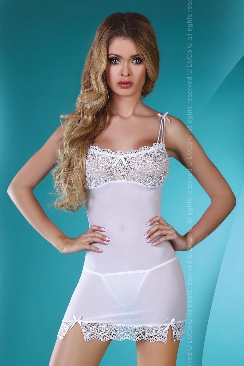 Erotická košilka LivCo Corsetti Wahida bílá (velikost L/XL)