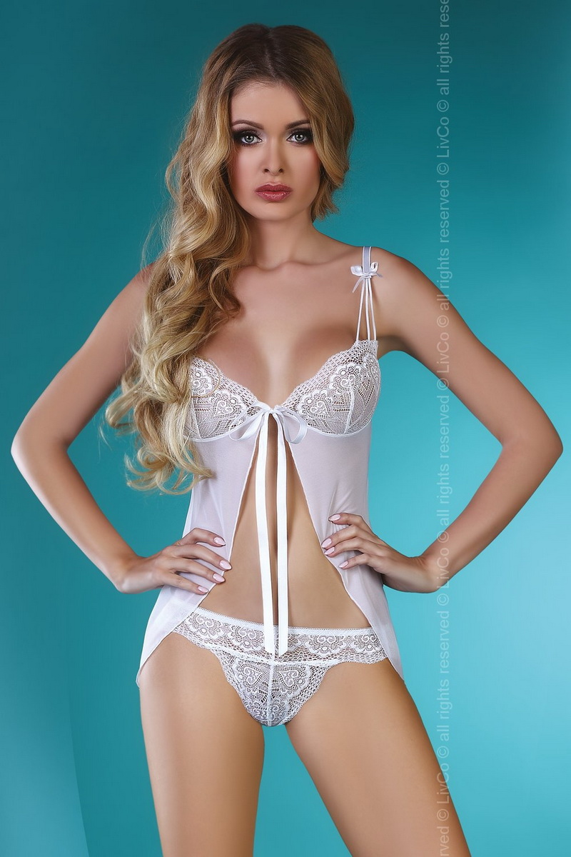 Erotická košilka LivCo Corsetti Waseme bílá (velikost S/M)