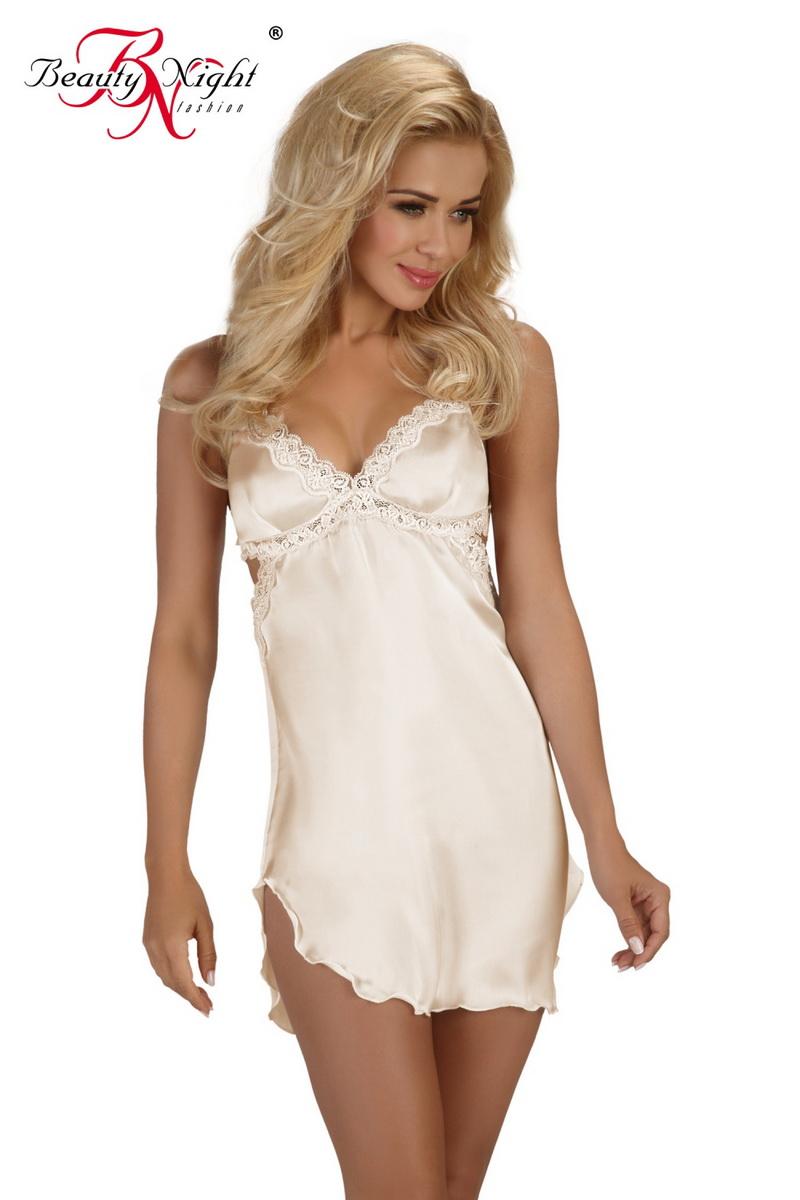 Erotická košilka Beauty Night Fashion Shannon krémová (velikost XXL)