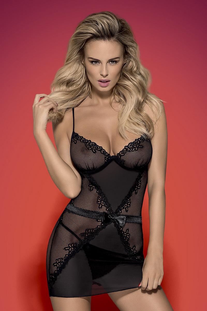Erotická košilka Obsessive Lustella černá (velikost L/XL)