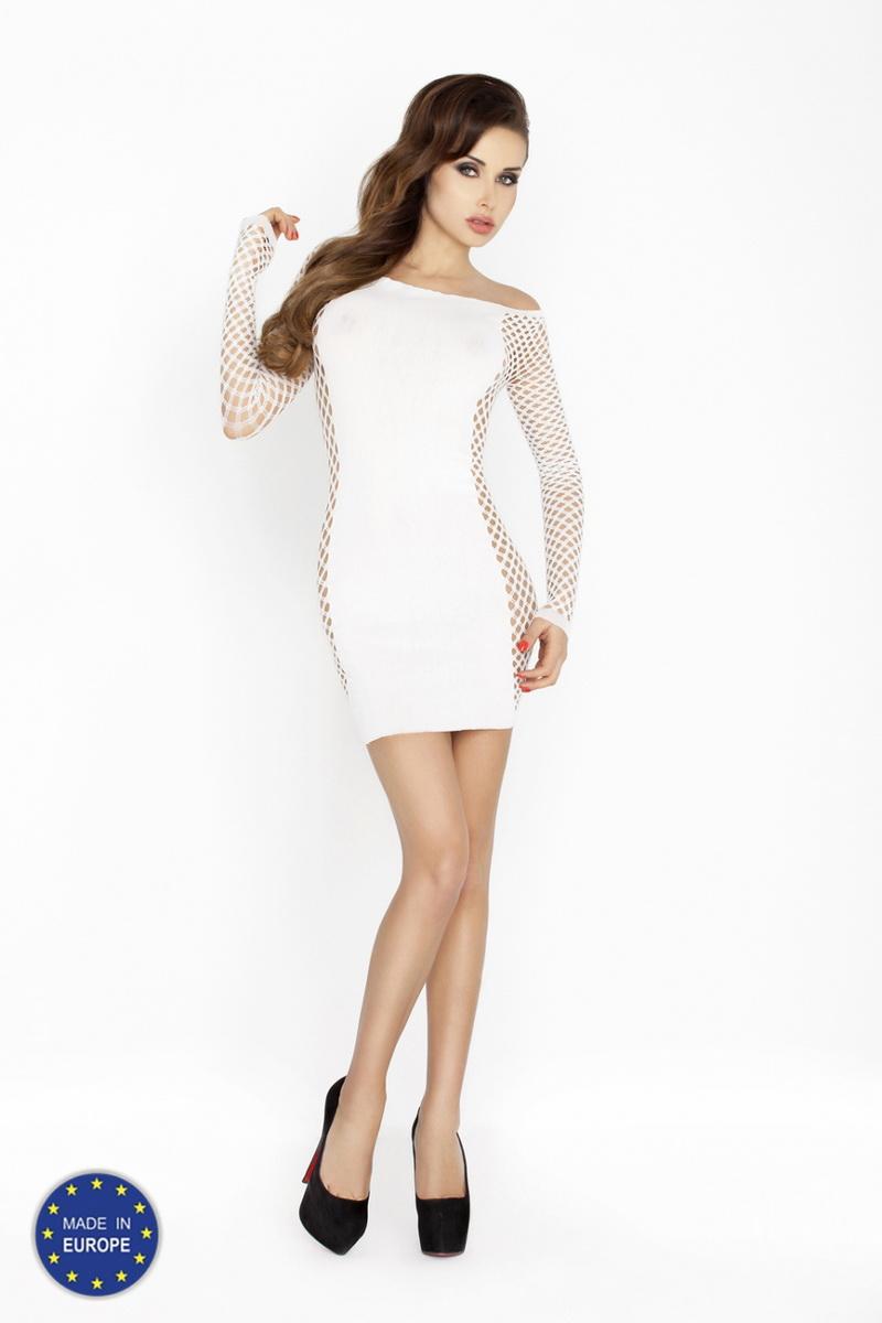 Erotické šaty Passion BS025 bílé (velikost S/L)