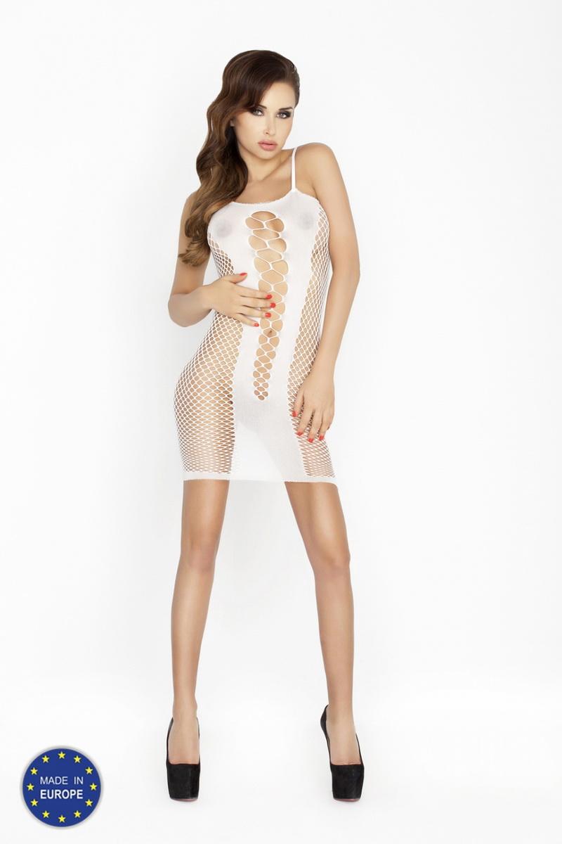 Erotické šaty Passion BS027 bílé (velikost S/L)