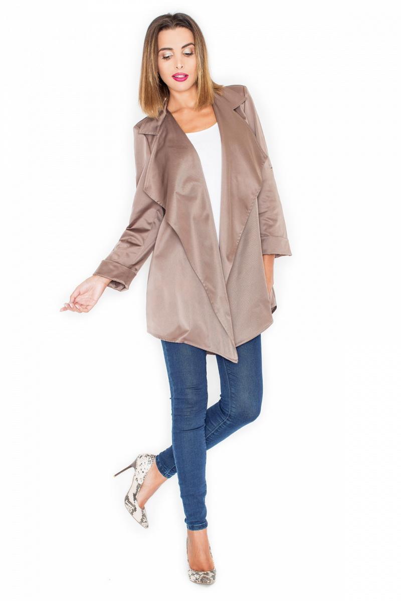 Dámský kabát Katrus K331 béžový (velikost XL)