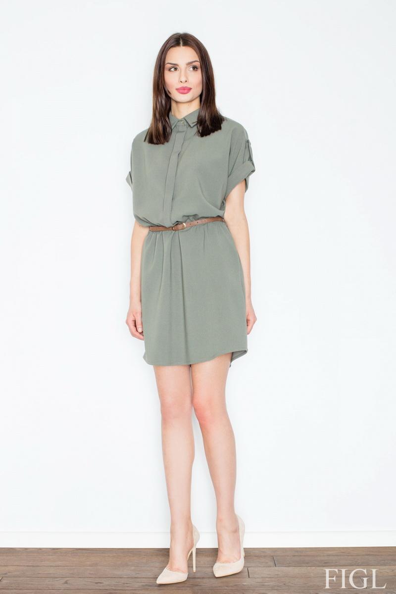 Dámské šaty Figl M442 olivové (velikost S)