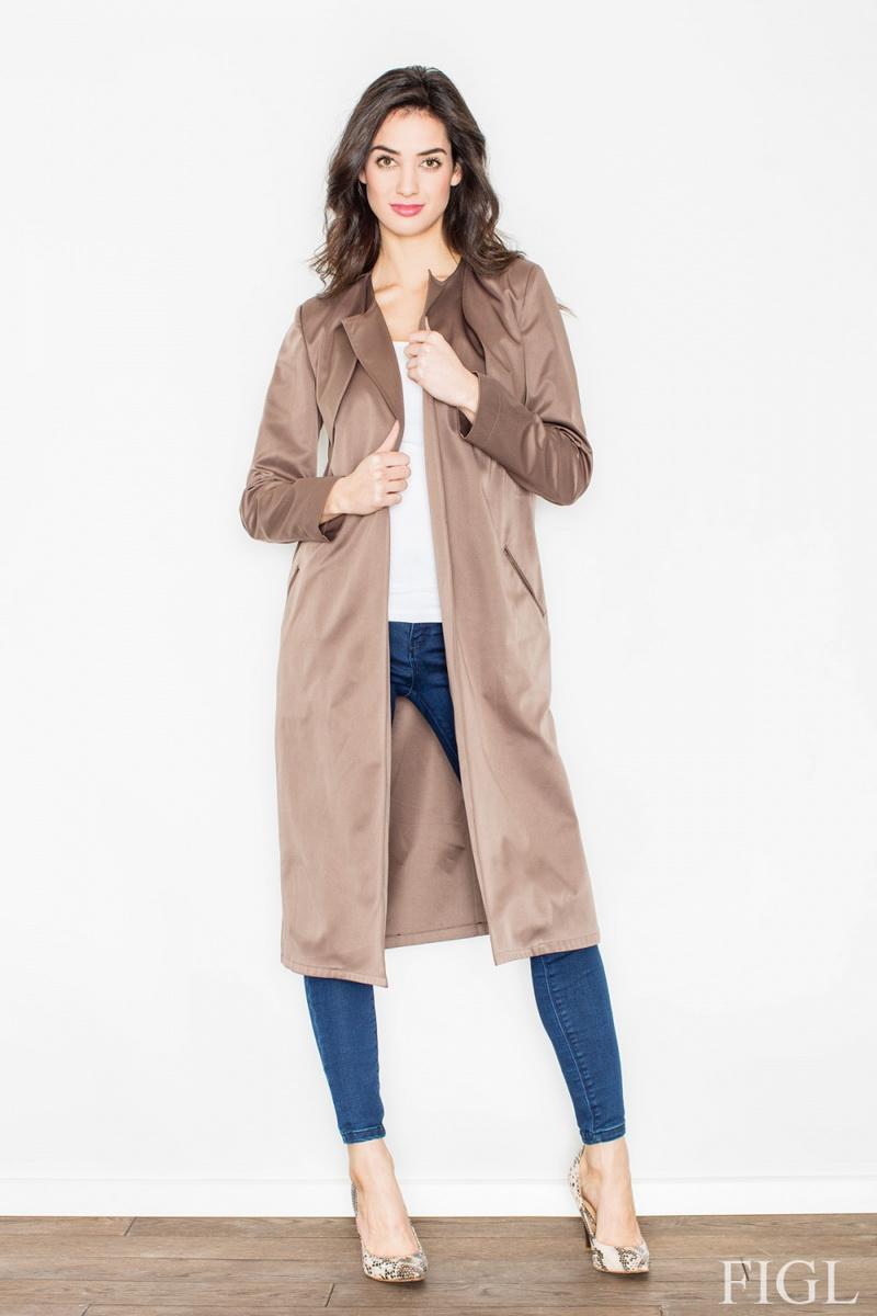 Dámský kabát Figl M427 hnědý (velikost XL)