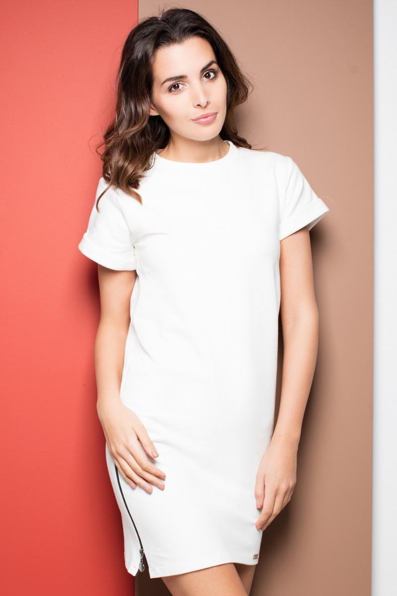 Dámské šaty Katrus K349 krémové (velikost S)