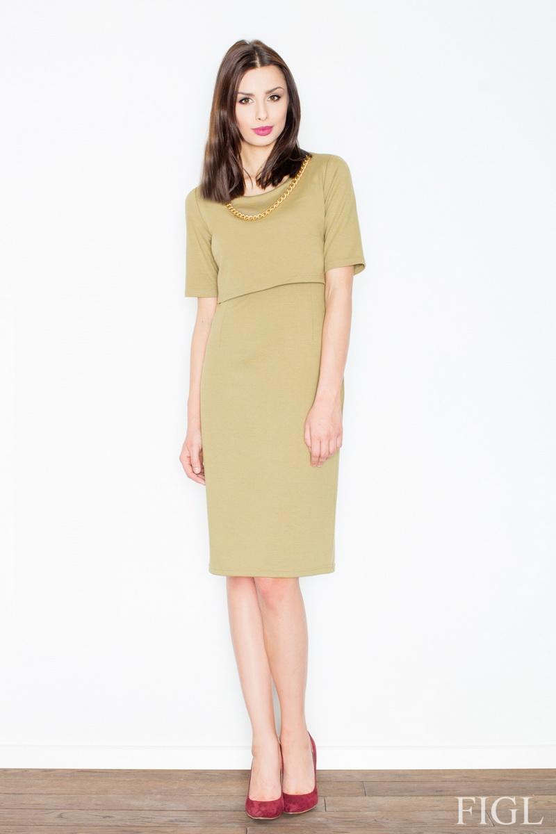 Dámské šaty Figl M446 olivové (velikost S)