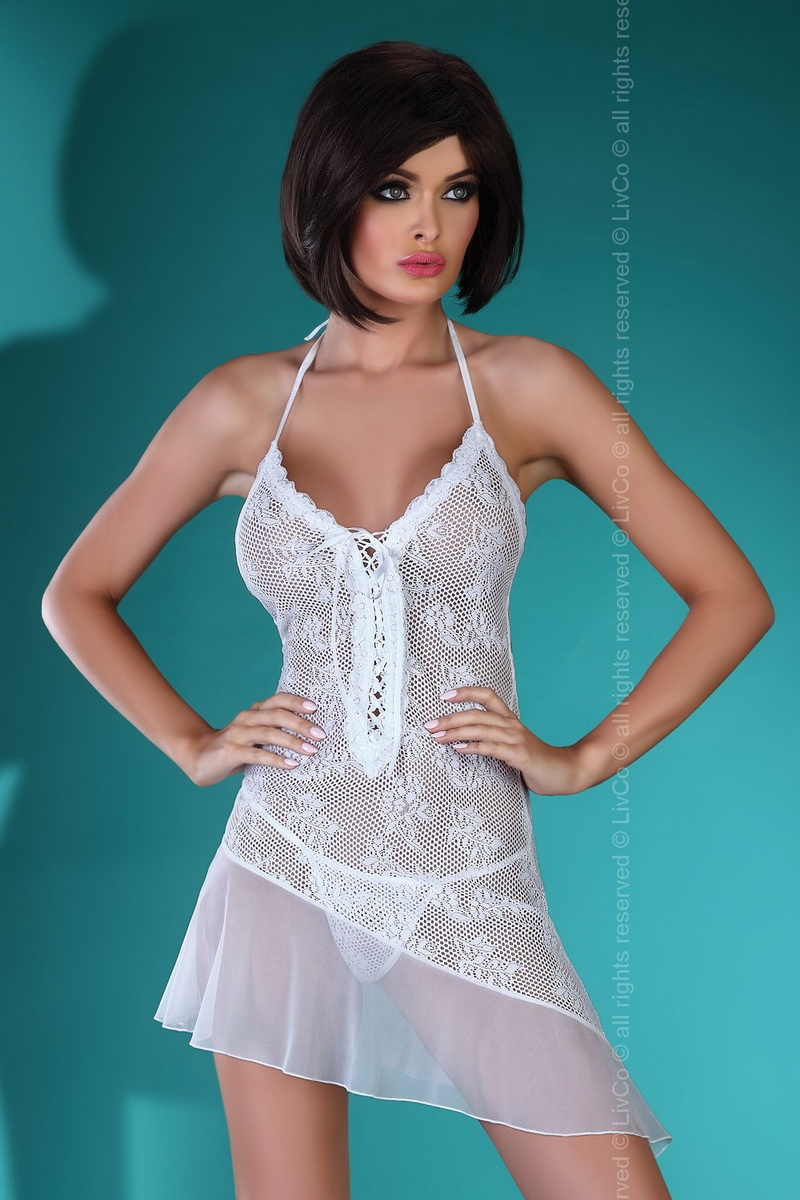 Erotická košilka LivCo Corsetti Mahalia bílá (velikost L/XL)