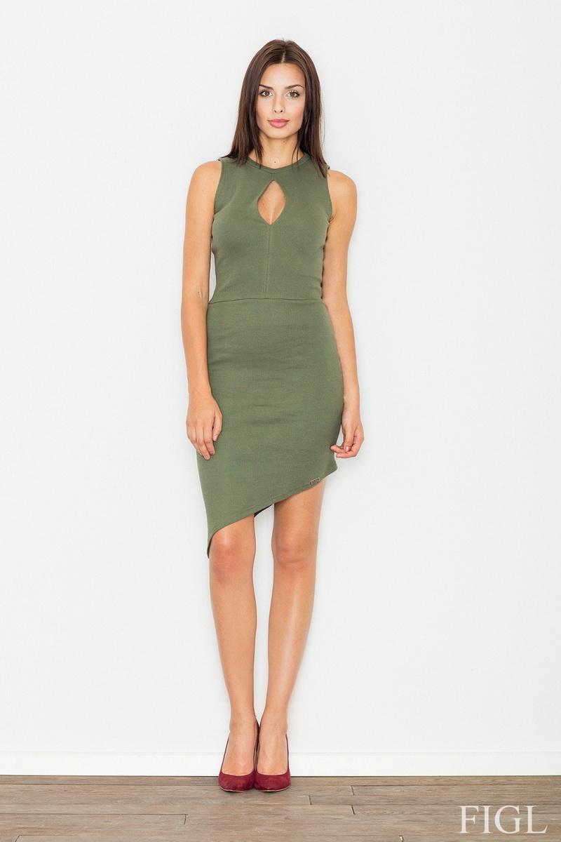 Dámské šaty Figl M486 olivové (velikost S)