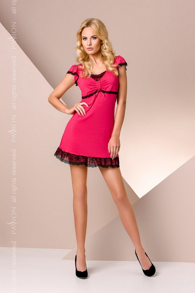 Noční košile Passion PY001 sytě růžová (velikost XXL)