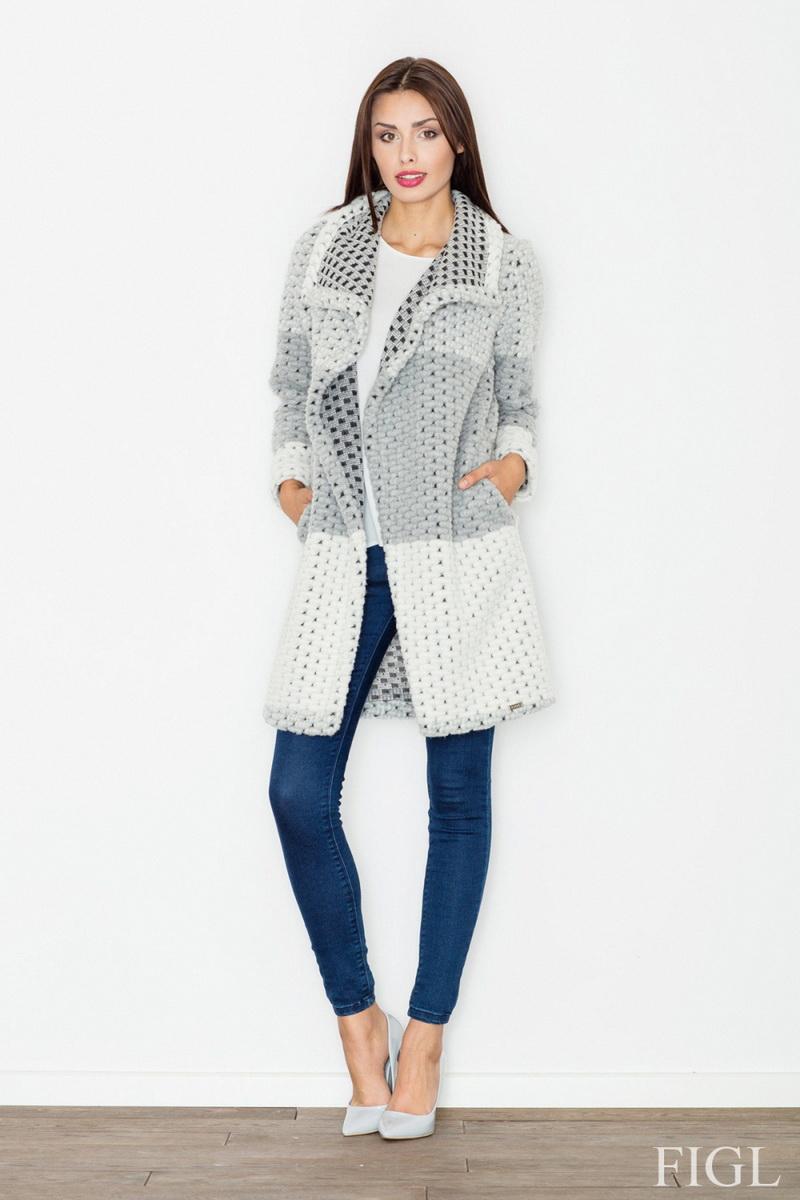 Dámský kabát Figl M507 šedý (velikost XL)