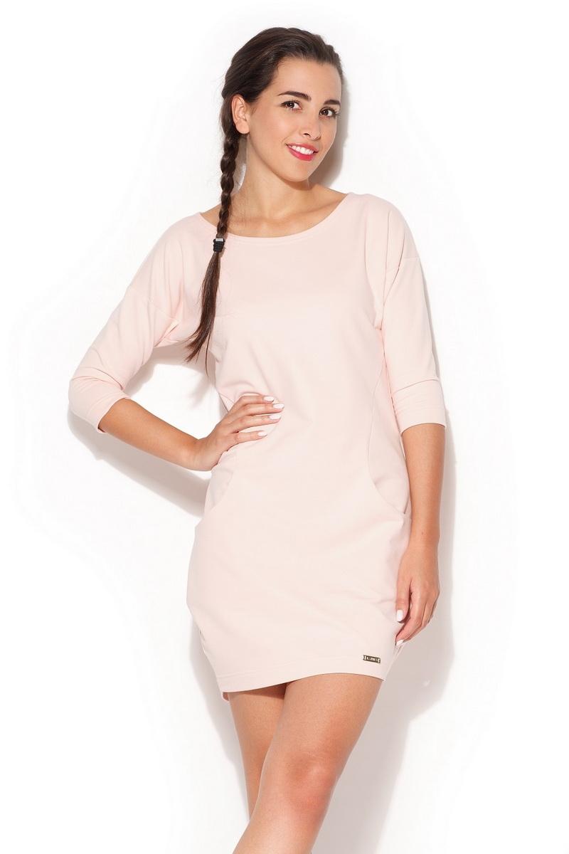 Dámské šaty Katrus K181 růžové (velikost S)