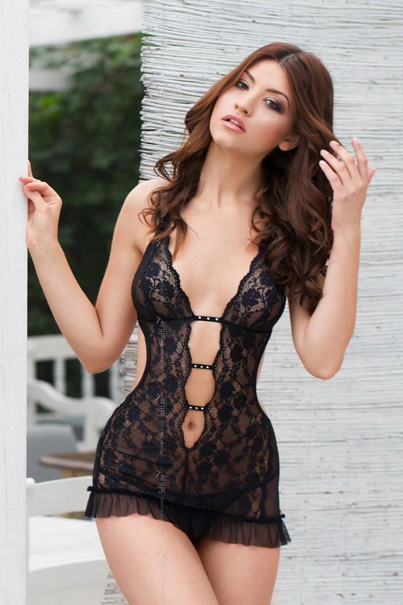 Erotická košilka Softline Collection Ursula černá (velikost M/L)