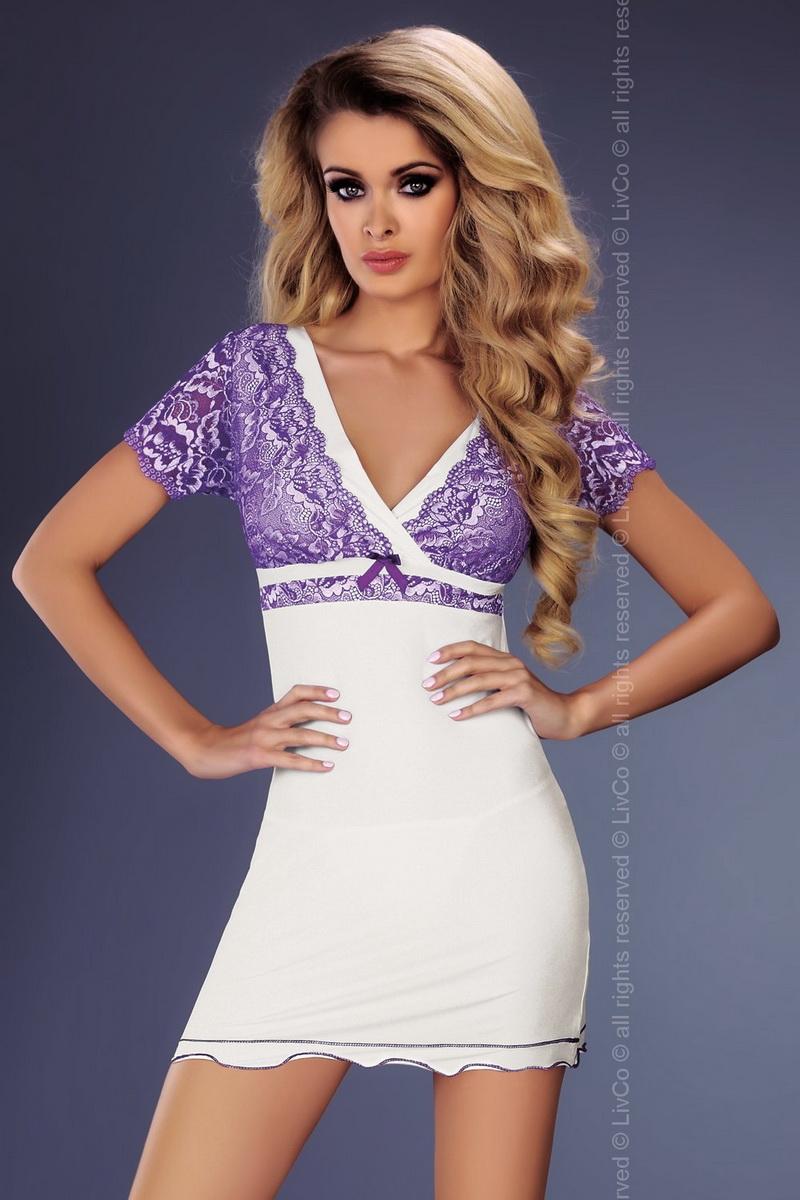 Dámská košilka LivCo Corsetti Trudy bílo-fialová (velikost S/M)