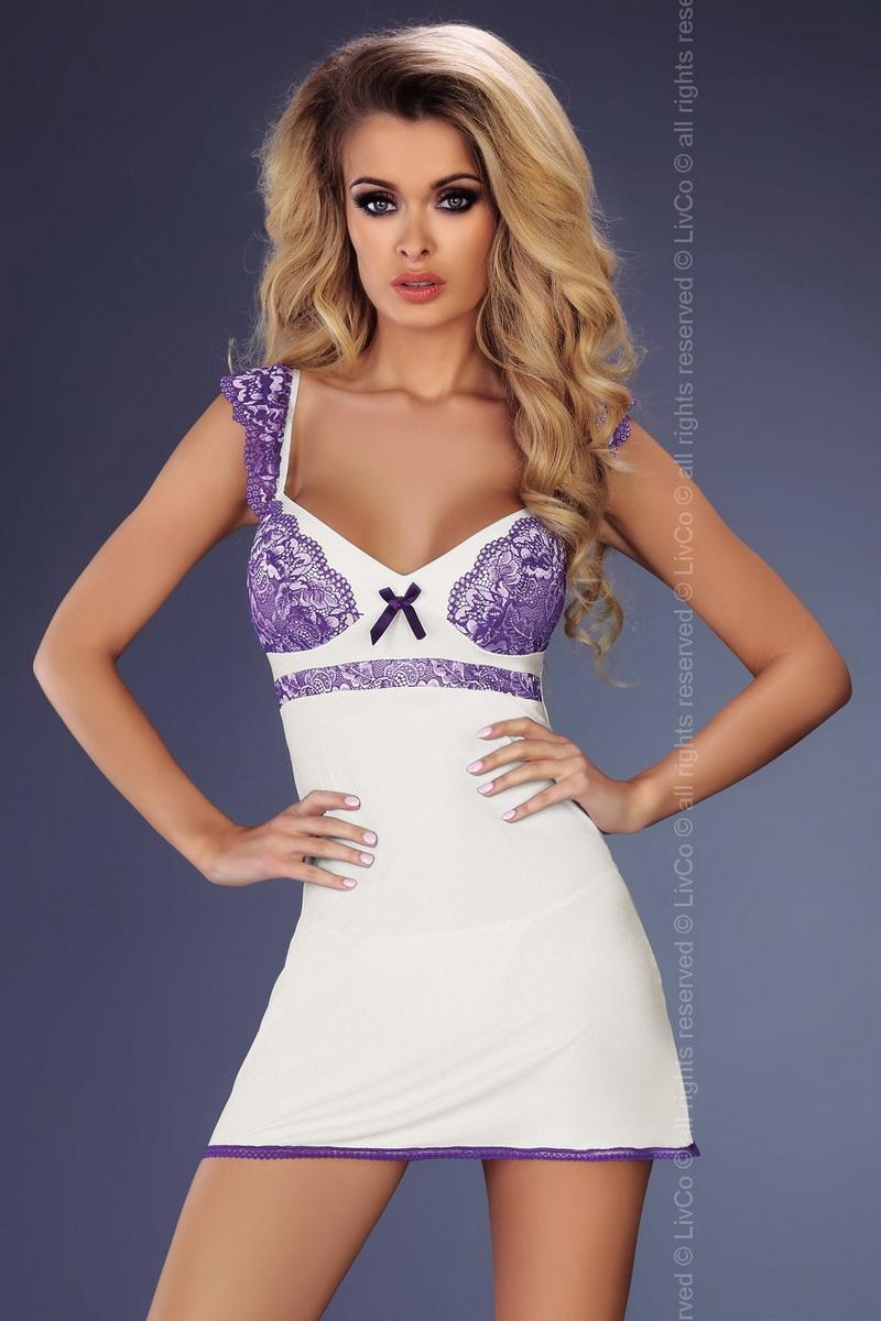 Dámská košilka LivCo Corsetti Marybeth bílo-fialová (velikost S/M)