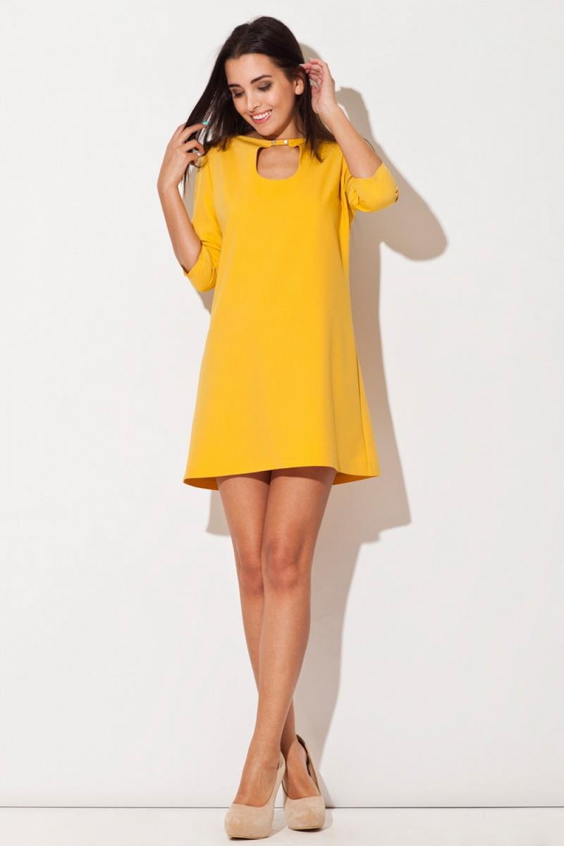 Dámské šaty Katrus K129 žluté (velikost XL)
