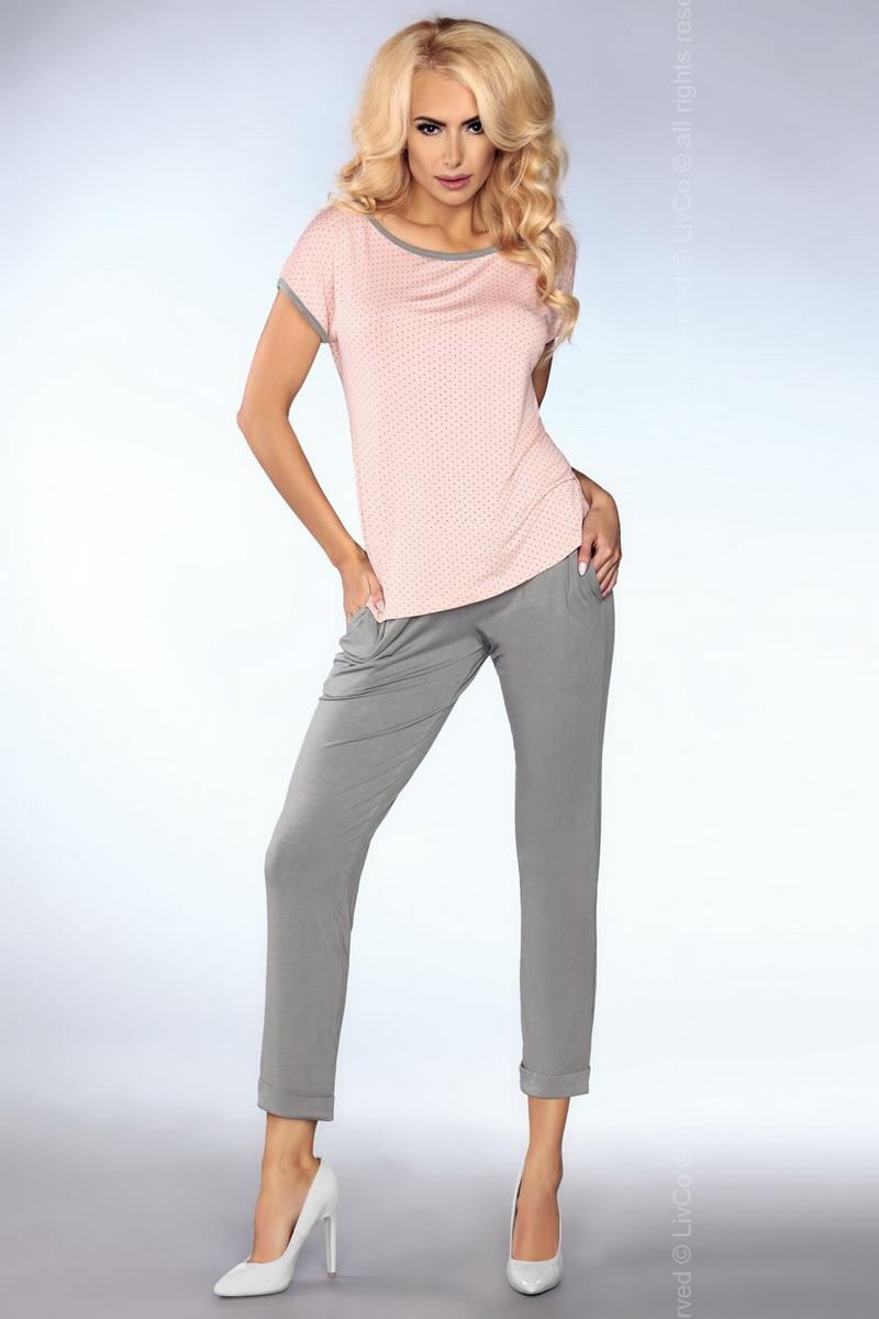 Dámské pyžamo LivCo Corsetti Model 101 šedo-růžové (velikost S/M)
