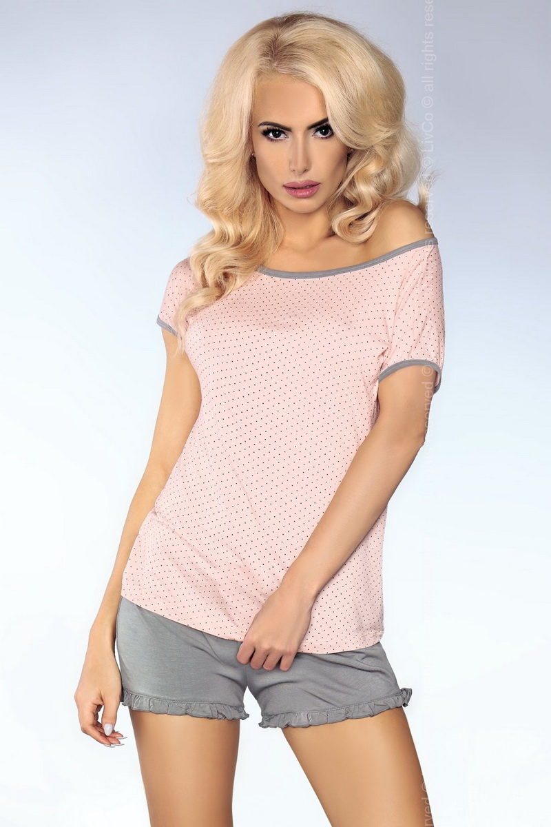 Dámské pyžamo LivCo Corsetti Model 103 šedo-růžové (velikost S/M)