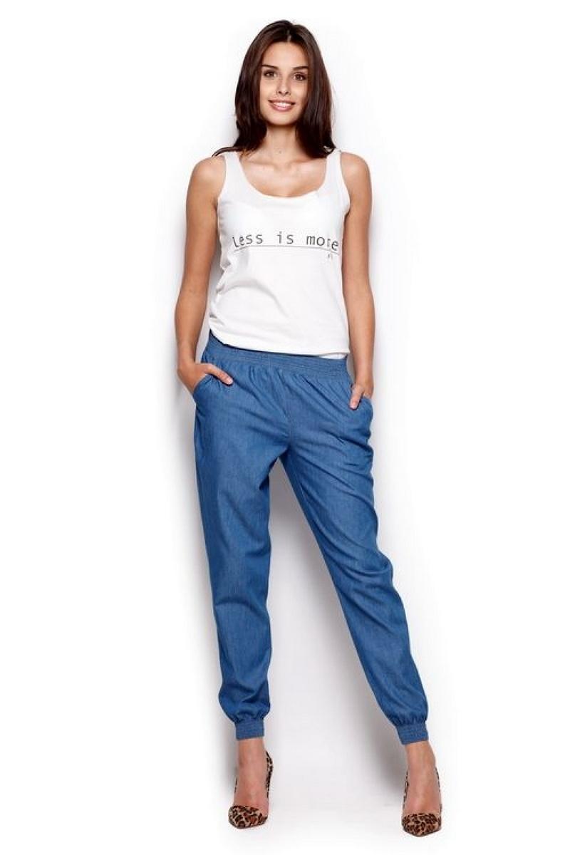 Dámské kalhoty Figl M307 modré (velikost XL)