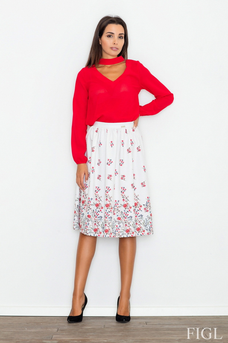 Dámská sukně Figl M537 model 60 bílá (velikost S)