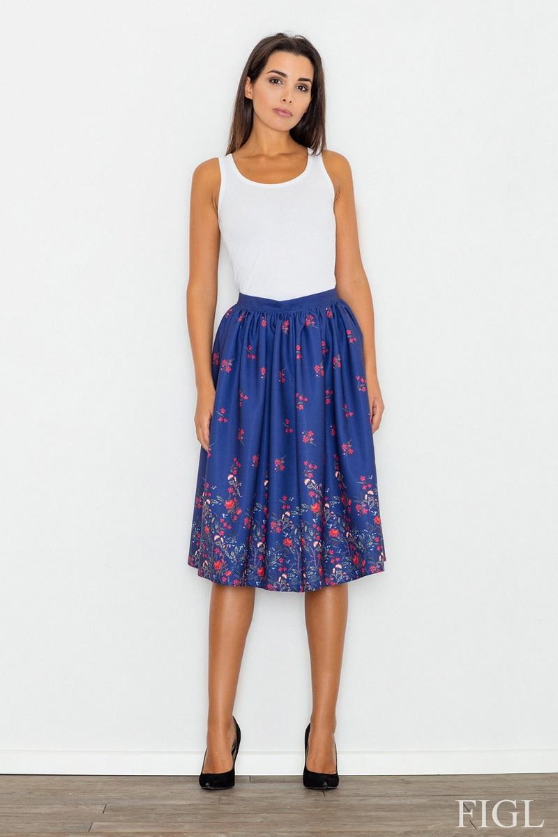 Dámská sukně Figl M537 model 61 modrá (velikost L)