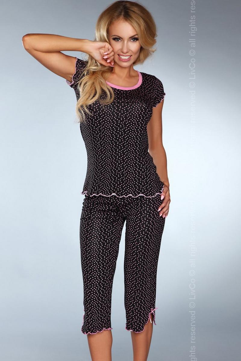 Dámské pyžamo LivCo Corsetti Model 105 černo-růžové (velikost S/M)