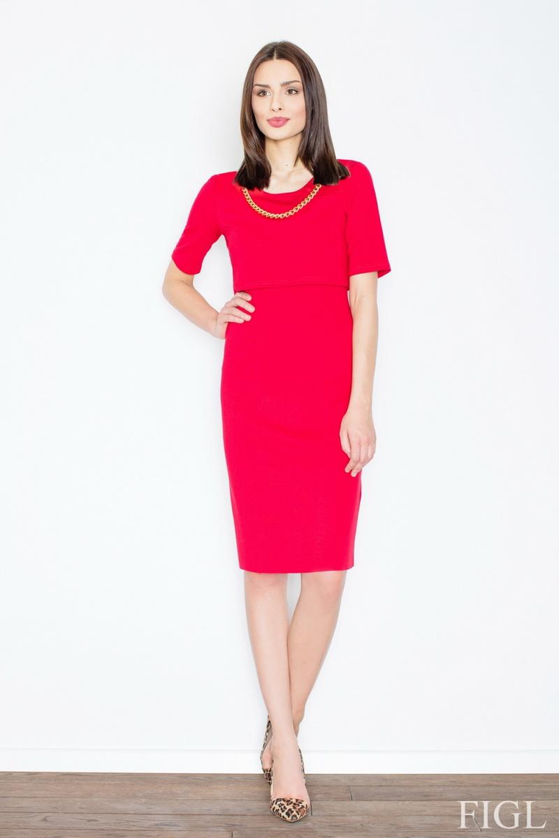 Dámské šaty Figl M446 červené (velikost L)