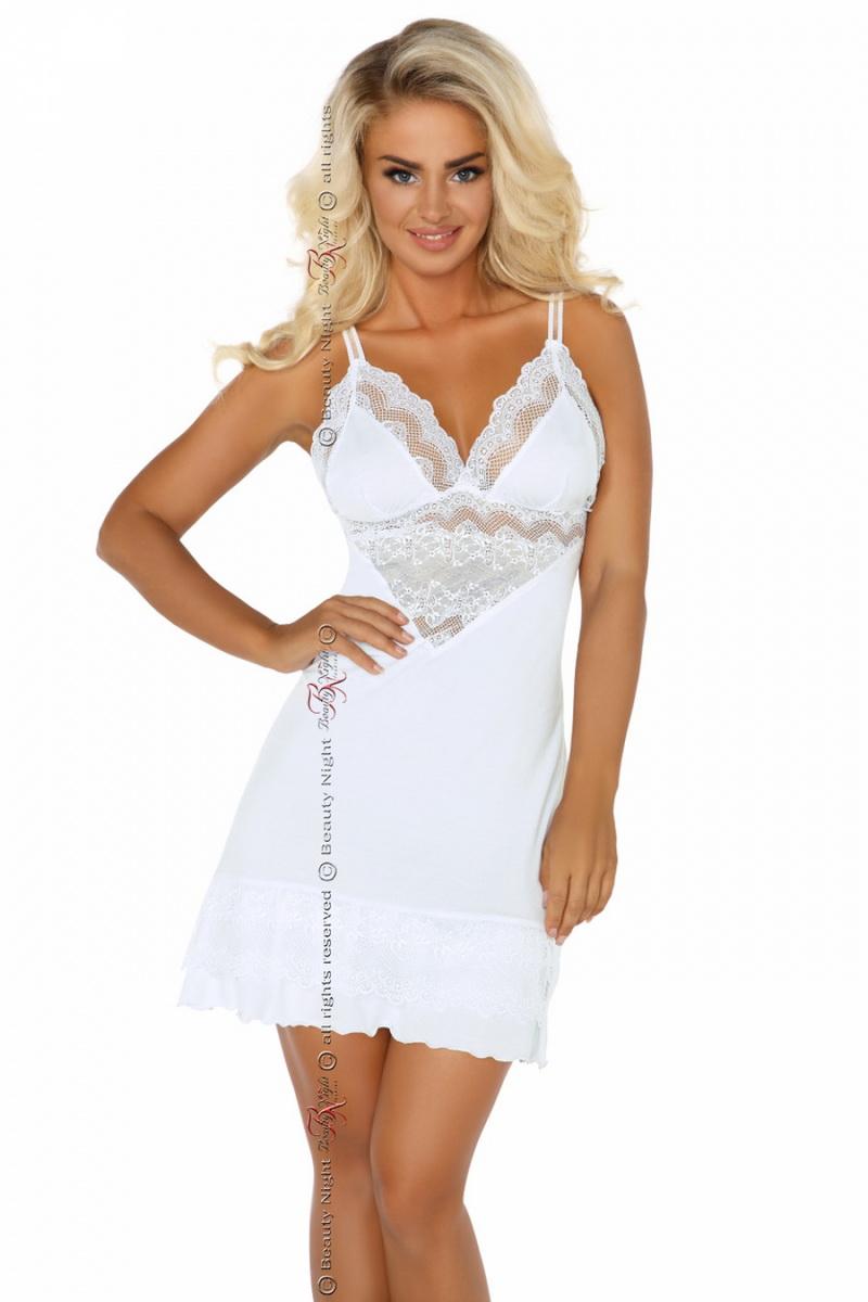 Dámská košilka Beauty Night Fashion Petra bílá (velikost L/XL)