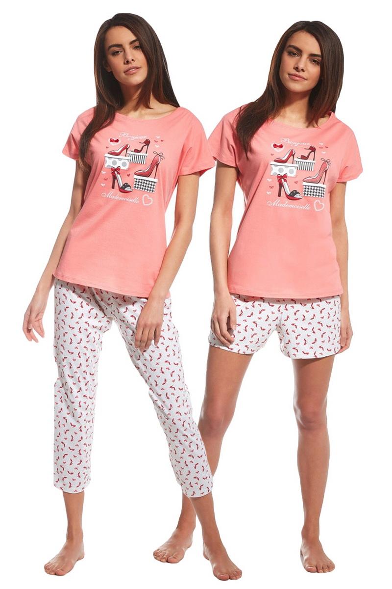 Dámské pyžamo Cornette 66598 Red Shoes růžové (velikost L)