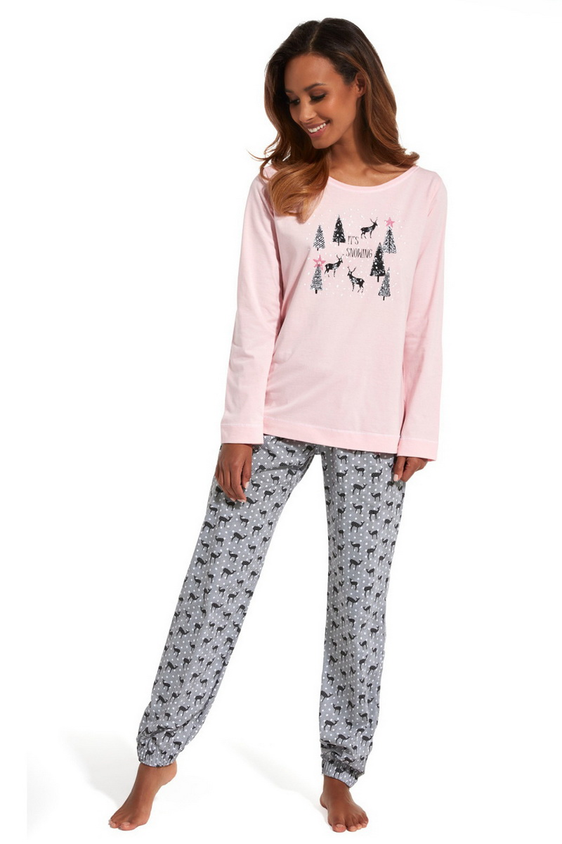 Dámské pyžamo Cornette 627132 Its snowing růžové (velikost L)