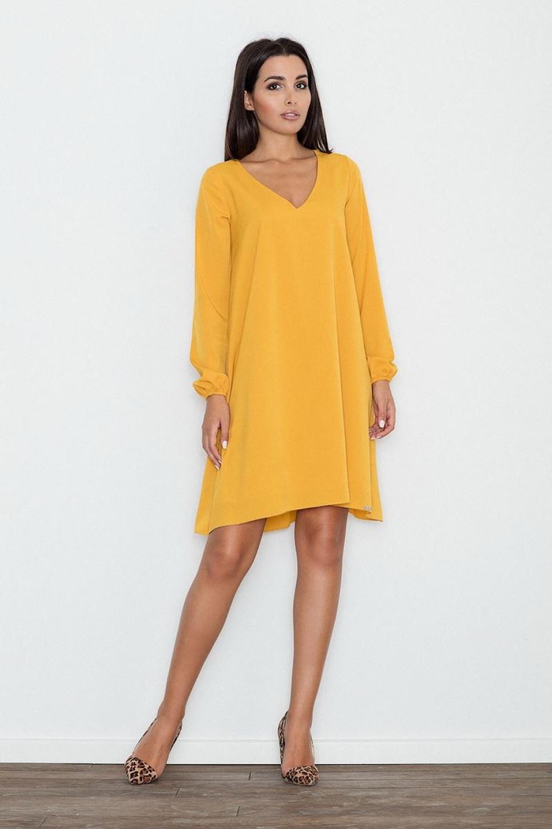 Dámské šaty Figl M566 žluté (velikost S)