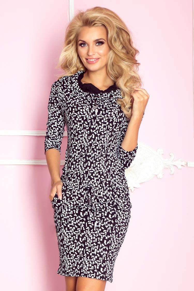 Dámské šaty Numoco 44-14 černo-bílé (velikost XS)