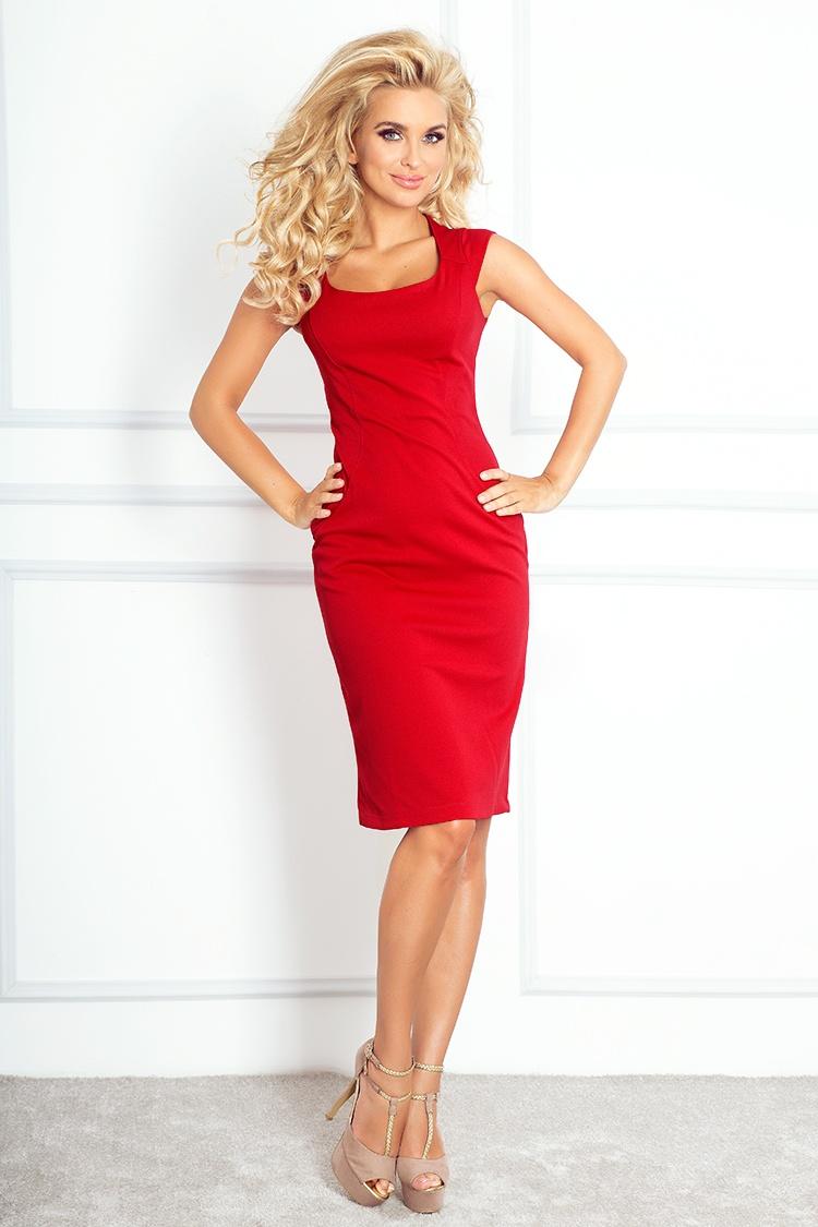 Dámské šaty Numoco 53-17A červené (velikost XL)