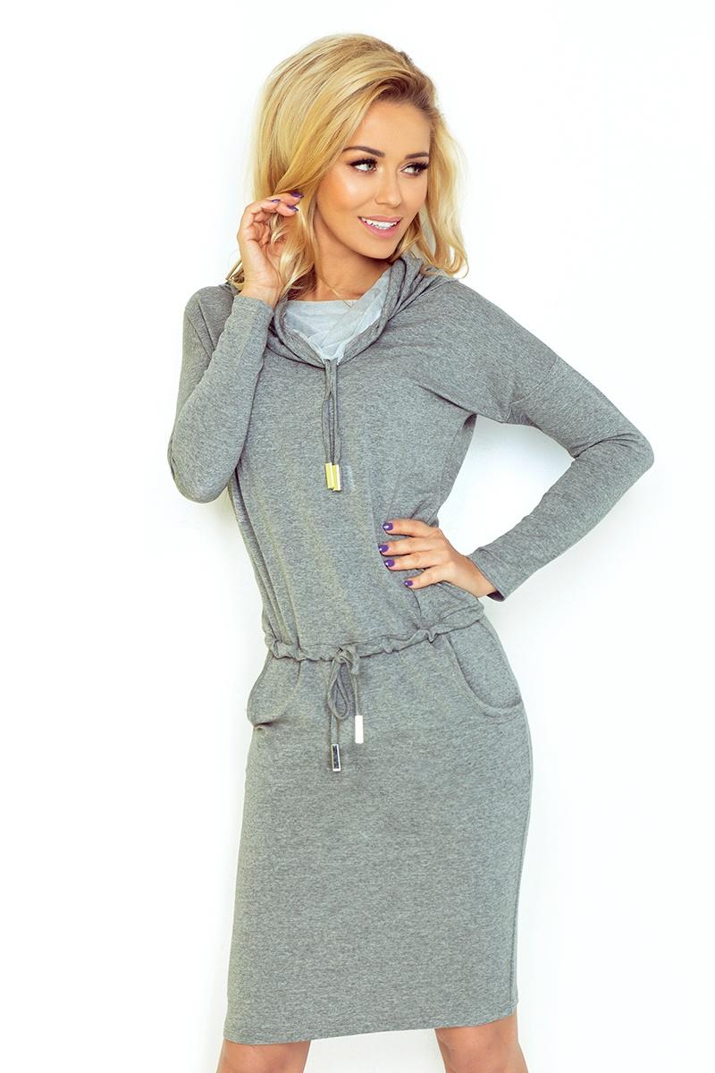 Dámské šaty Numoco 44-2 šedé (velikost XL)
