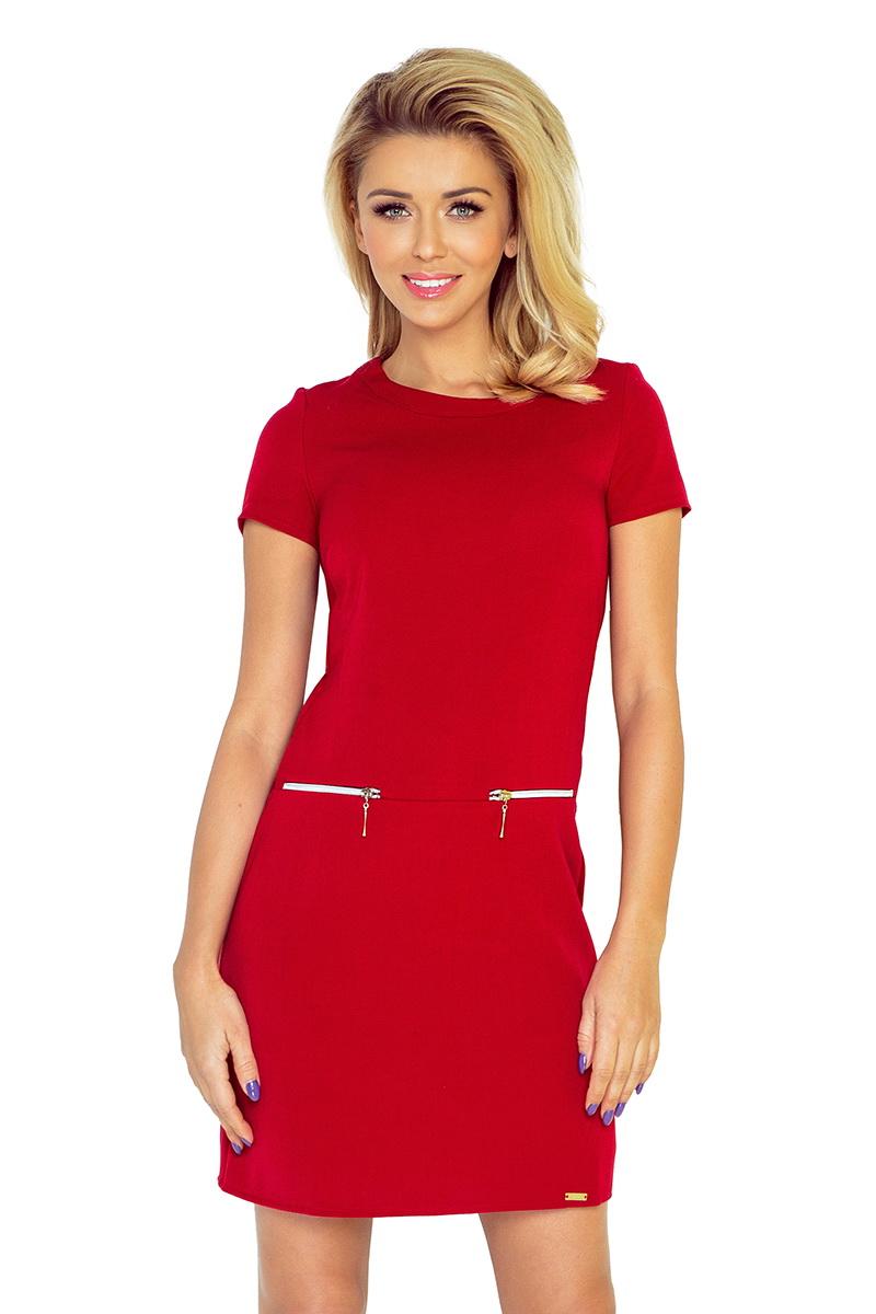 Dámské šaty Numoco 134-2 červené (velikost XXL)