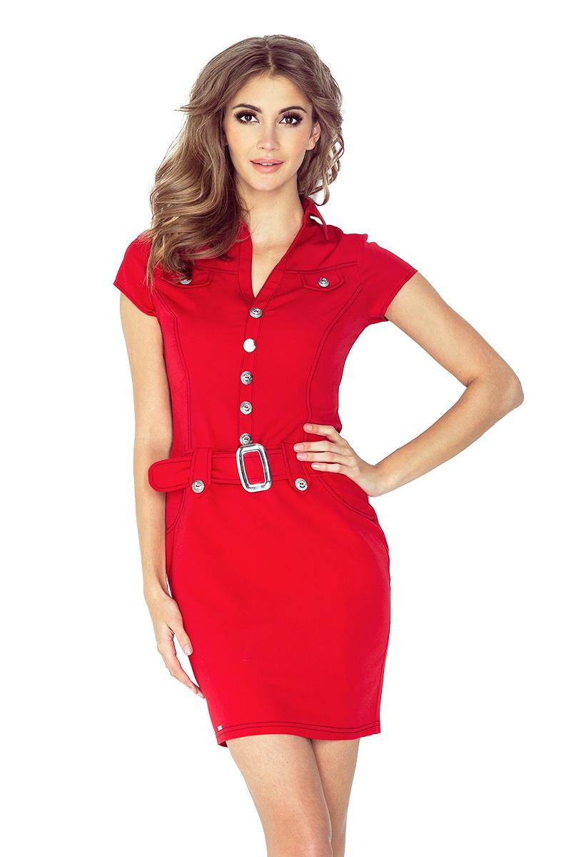 Dámské šaty Numoco 142-4 červené (velikost XXL)
