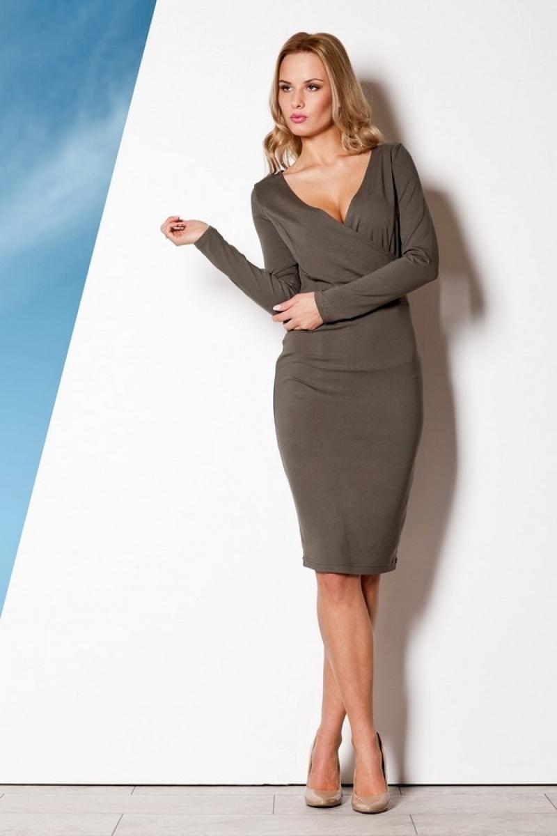 Dámské šaty Figl M264 olivové (velikost L)