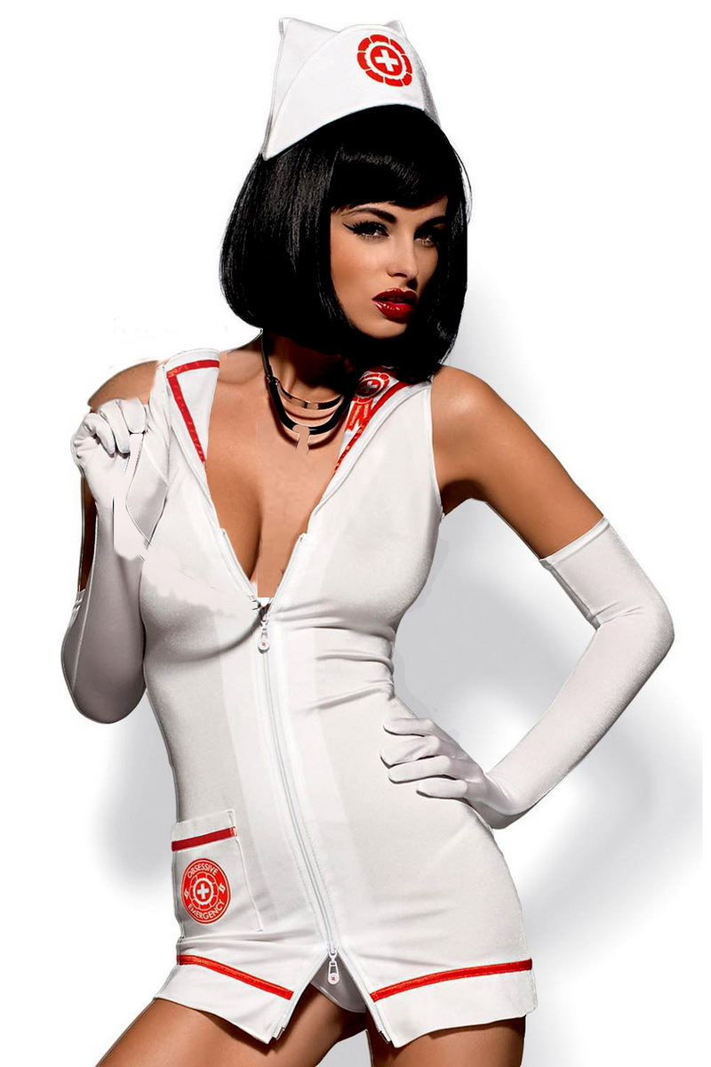 Sexy kostým Obsessive Emergency dress bílý (velikost S/M)