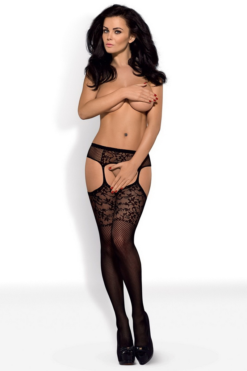 Erotický podvazkový pás Obsessive S211 černý (velikost S/L)