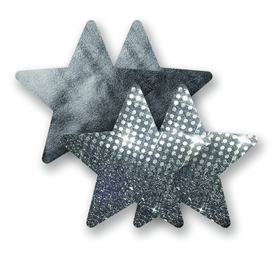 Ozdoby na bradavky - stříbrné hvězdičky