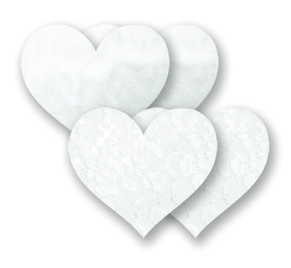 Ozdoby na bradavky - bílé srdíčka
