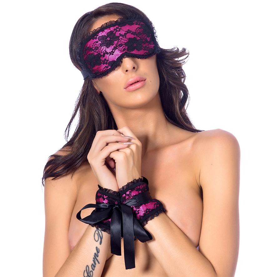 Souprava masky na oči a pout - růžová
