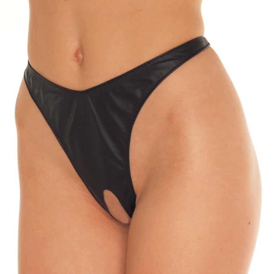 Otevřené kožené kalhotky (velikost S/L)