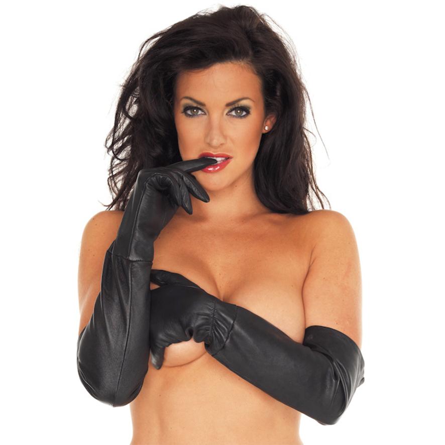 Dlouhé kožené rukavice (velikost L)